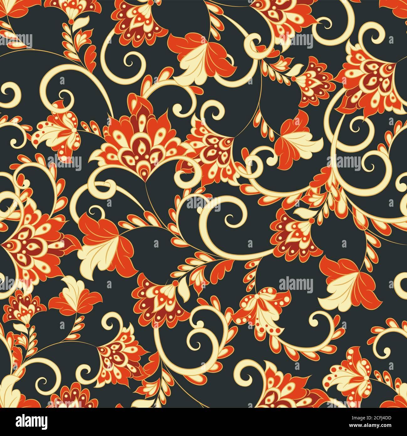 Vintage Floral Seamless Pattern Vector Wallpaper Stock Vector Image Art Alamy