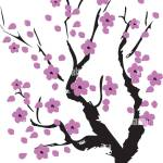 Vector Illustration Of A Cherry Blossom Tree Lavender Color Stock Vector Image Art Alamy