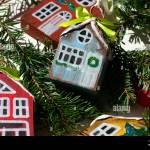 Wooden Houses Colorful Christmas Gift Ideas Diy Handmade Decor With Kids Toys For Tree Stock Photo Alamy