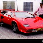 Tariq Javaid A Pakistani Engineer Stands Next To A Replica Of The Lamborghini Countacht The Famous