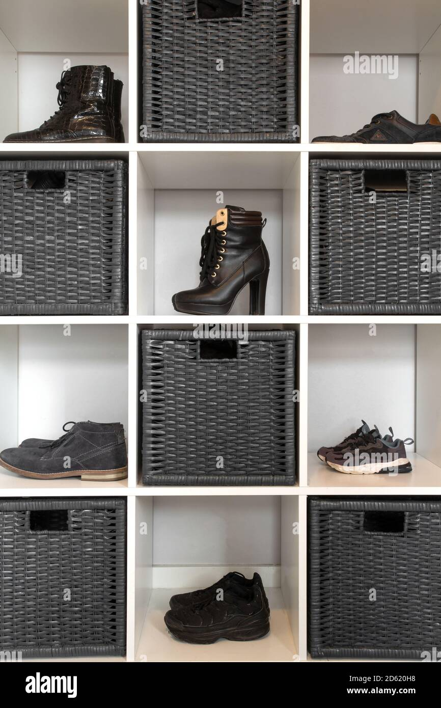 https www alamy com organized shoe rack in modern interior various footwear on wooden shelf storage for shoes in a modern home image382360420 html