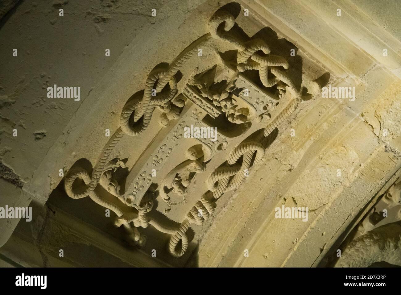 https www alamy com france loir et cher 41 chambord unesco world heritage royal renaissance castle 2nd floor chamber vaults carved with royal monograms image383504458 html
