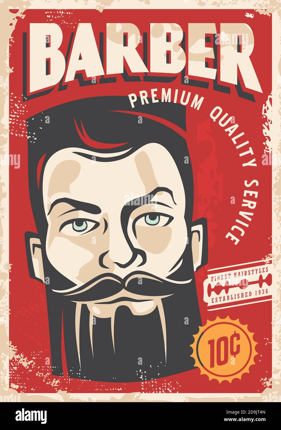 https www alamy com barber shop retro poster design with bearded man portrait on old paper texture background haircut and shaving service vector image image384574085 html