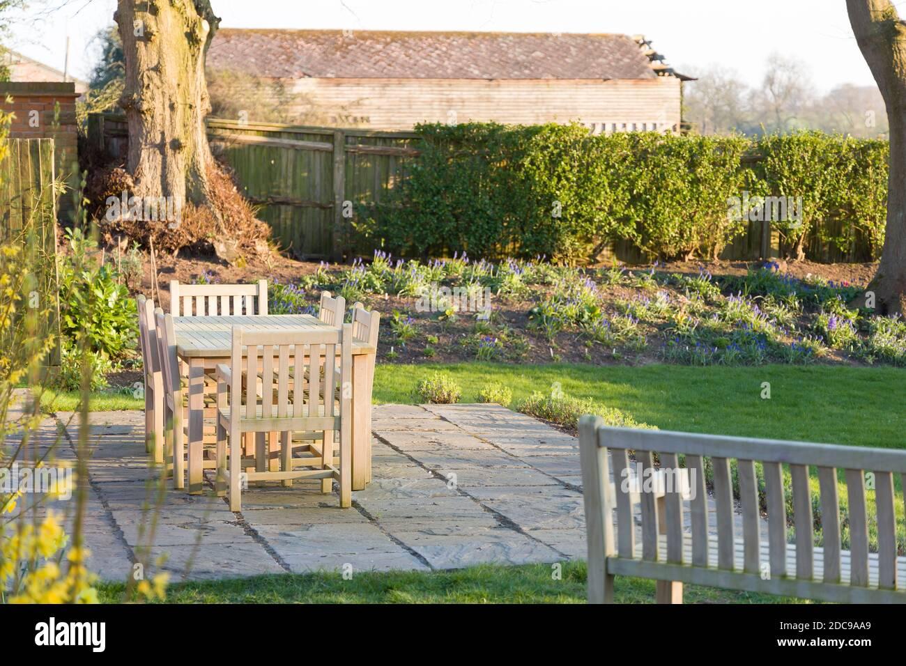 https www alamy com garden patio furniture in wintertime a large back garden in rural buckinghamshire uk image386209665 html