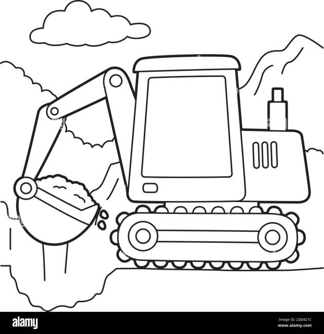 Excavator Coloring Page Stock Vector Image & Art - Alamy