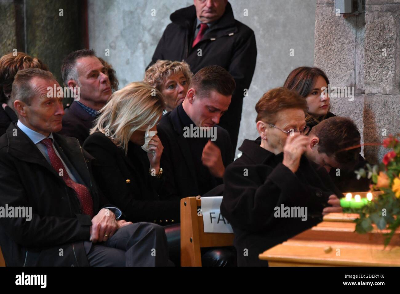 https www alamy com late cyclist raymond poulidors grandson dutch cyclist mathieu van der poel c flanked by his girlfriend porsche belgiums assistant roxanne bertels reacts as he sits behind pulidors widow gisele poulidor during the funerals of the french champion raymond poulidor in saint leonard de noblat on november 19 2019 french cyclist raymond poulidor died on november 13 2019 at the age of 83 photo by mehdi fedouach poolabacapresscom image387759884 html