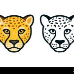 Cartoon Cheetah Head Color And Black And White Face Front View Mascot Or Logo Design Isolated Vector Illustration Stock Vector Image Art Alamy