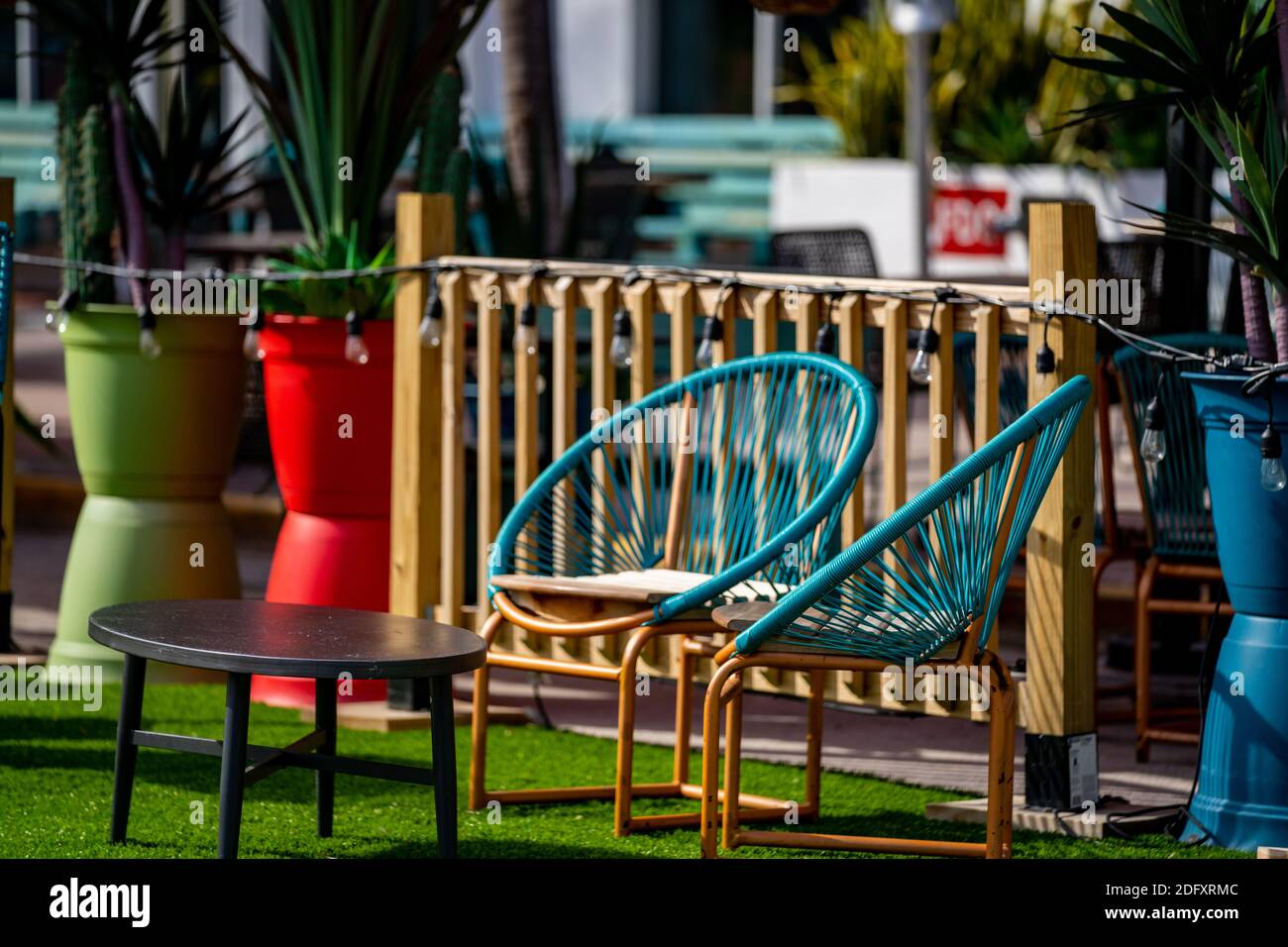 https www alamy com outdoors photo patio furniture tables and wire chairs modern deco design image388437292 html