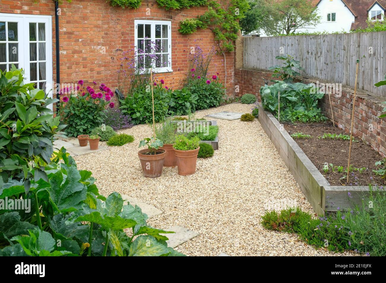 https www alamy com garden of a victorian english house uk gravel and oak sleeper raised beds with flowers and vegetables image396775006 html