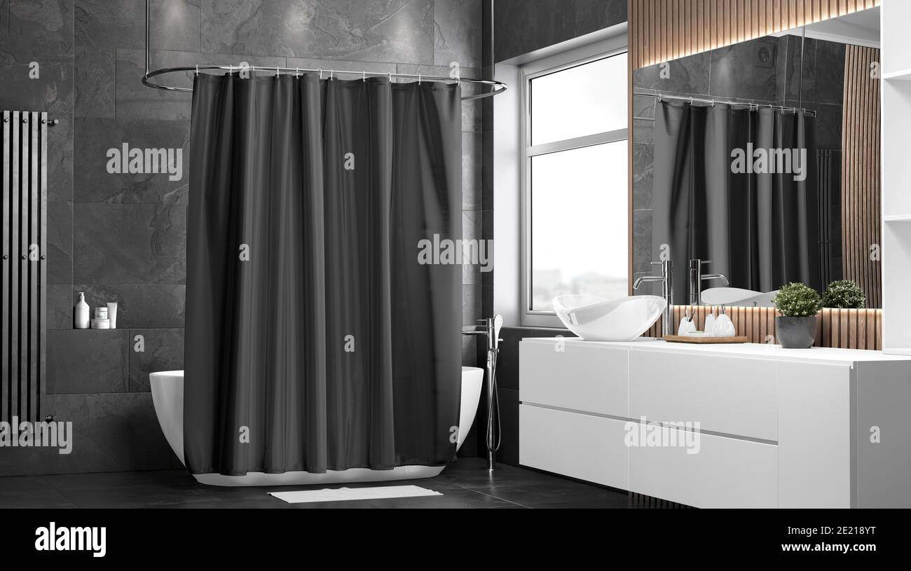https www alamy com blank black closed shower curtain mockup half turned view 3d rendering empty dark fabric or polyester waterproof shade mock up clear bathing decor image397096780 html