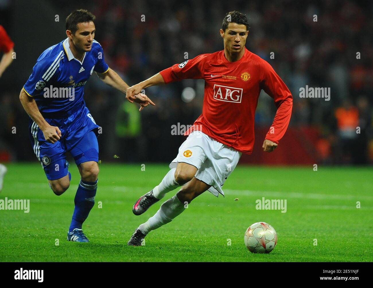 MAnchester United's Cristiano Ronaldo challenges Chelsea's Frank Lampard  during the UEFA Champions League Final Soccer match, Manchester United vs  Chelsea at the Luzhniki Stadium in Moscow, Russia on May 21, 2008. The