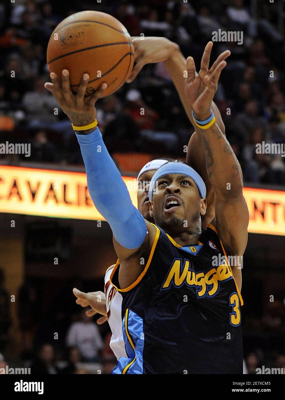 https www alamy com denver nuggets allen iverson is fouled by cleveland cavaliers shannon brown in the second half of their nba basketball game in cleveland ohio february 10 2008 reutersaaron josefczyk united states image400721781 html