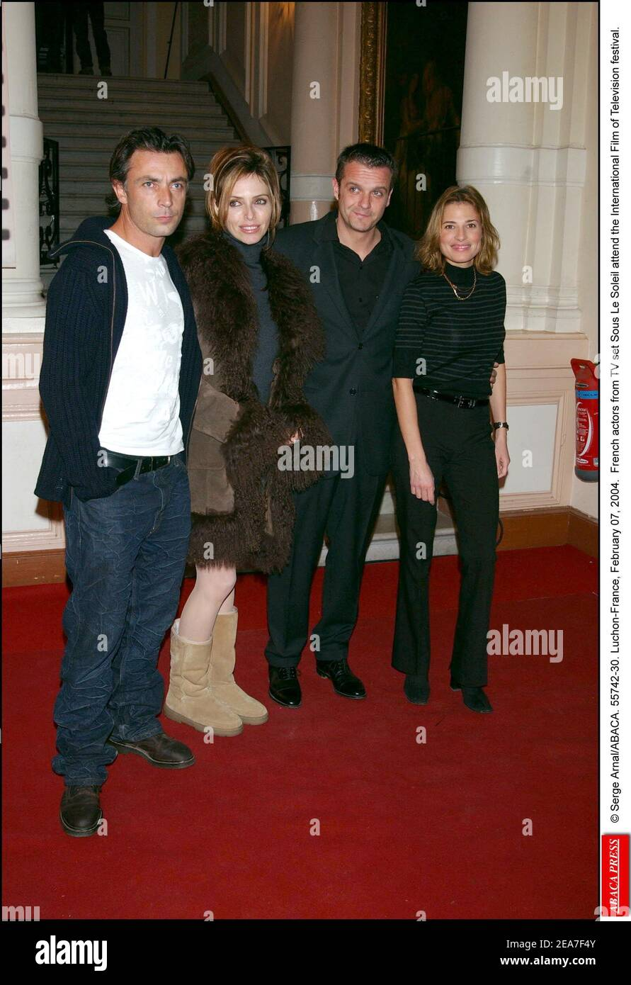 https www alamy com serge arnalabaca 55742 30 luchon france february 07 2004 french actors from tv set sous le soleil attend the international film of television festival image402150587 html