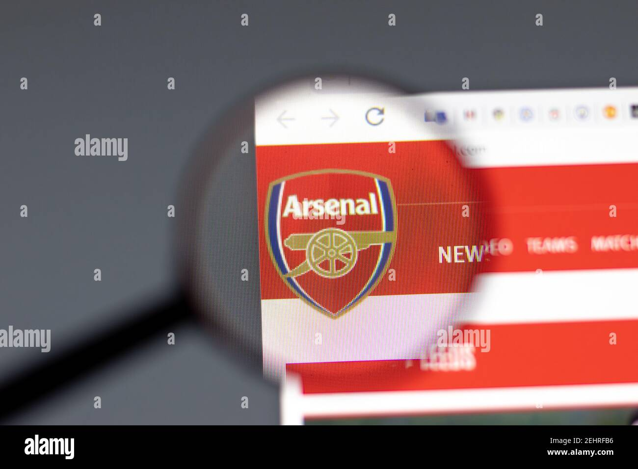 https www alamy com new york usa 15 february 2021 arsenal website in browser with company logo illustrative editorial image406804586 html