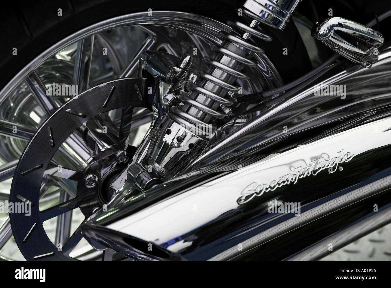 https www alamy com harley davidson motor cycle fitted with screaming eagle exhaust pipes image3215957 html