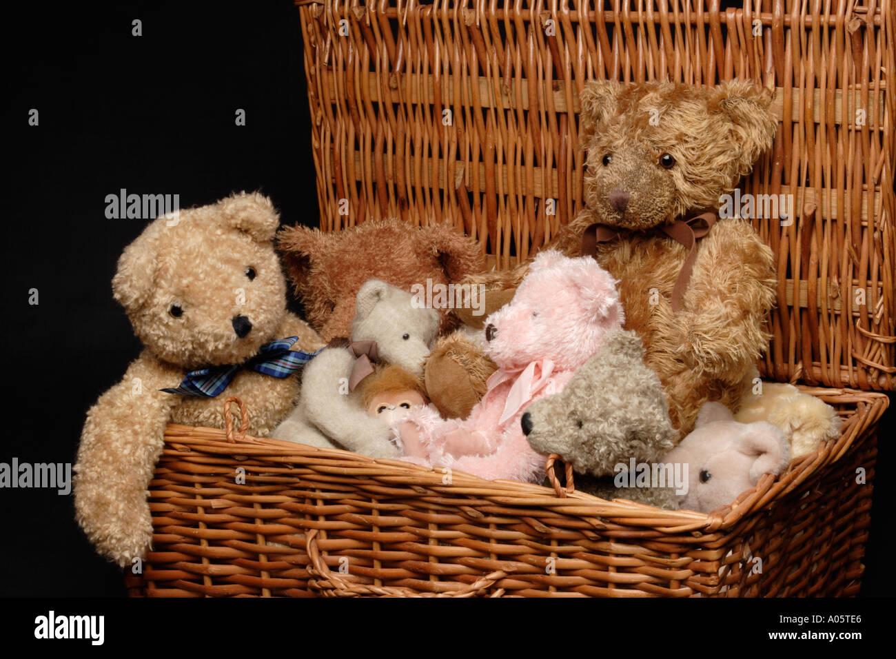 Childhood Toys Basket Full Of Teddy Bears Stockfoto