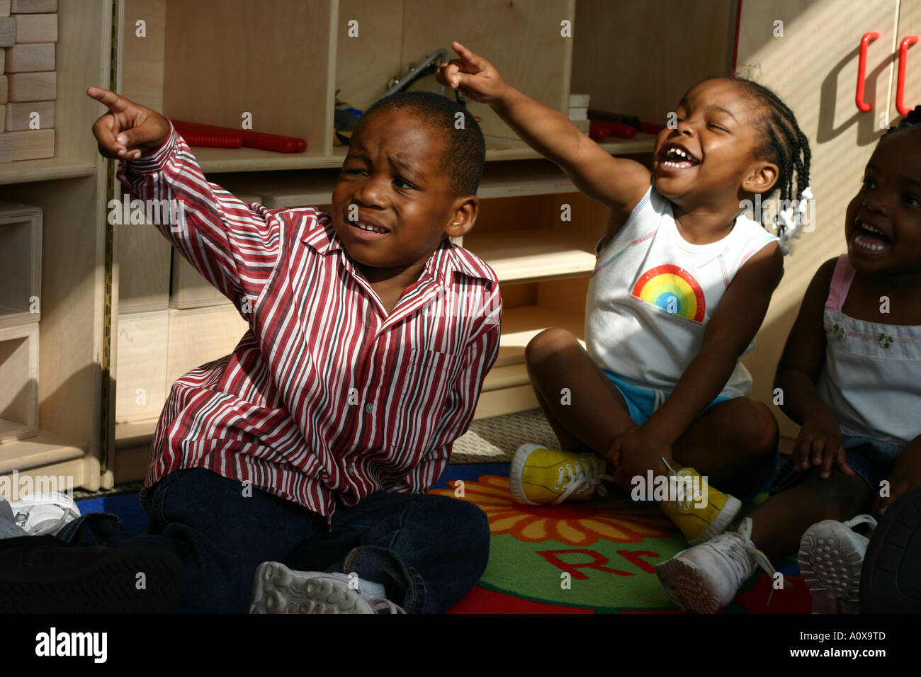 African American Children In A Preschool Kindergarten