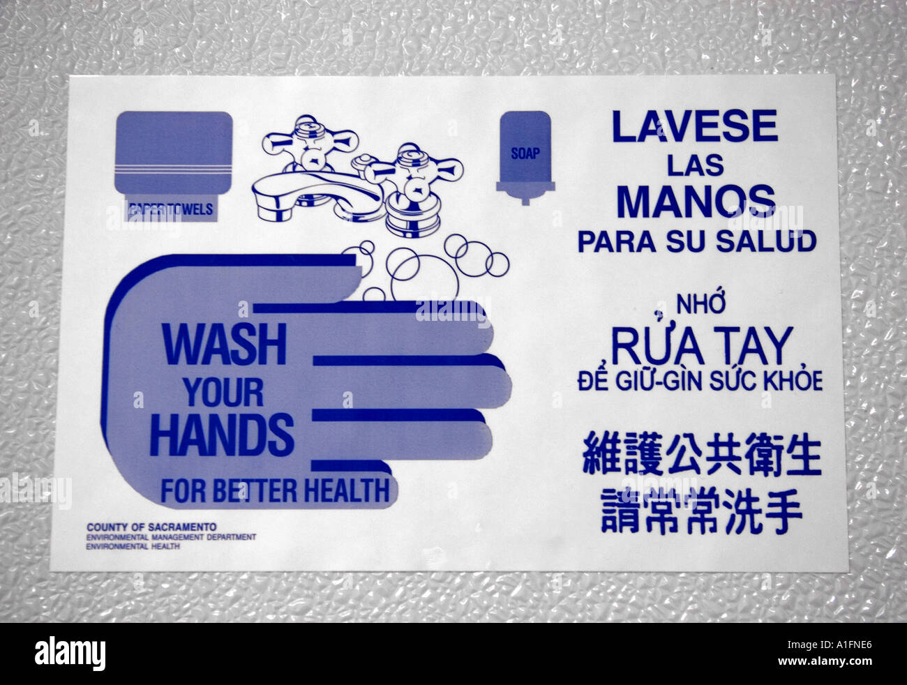 Wash Your Hands Sign In A Bathroom Showing Different