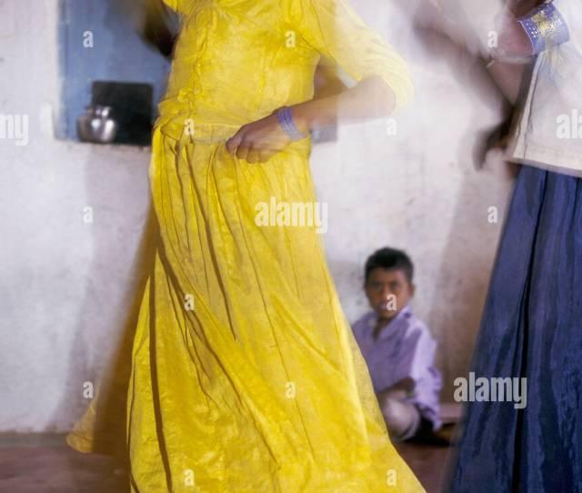 India Karnataka Village Primary School Girl In Yellow Dress Dancing 1996 Stock Image