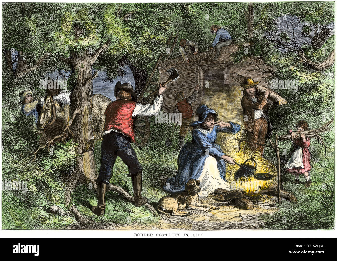Early Settlers In Ohio Building A Log Cabin Hand Colored