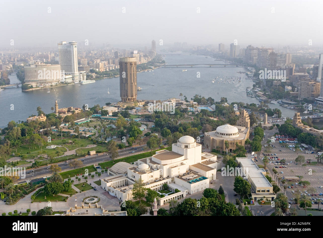 Aerial View Of City Nile River Cairo Egypt Stock Photo
