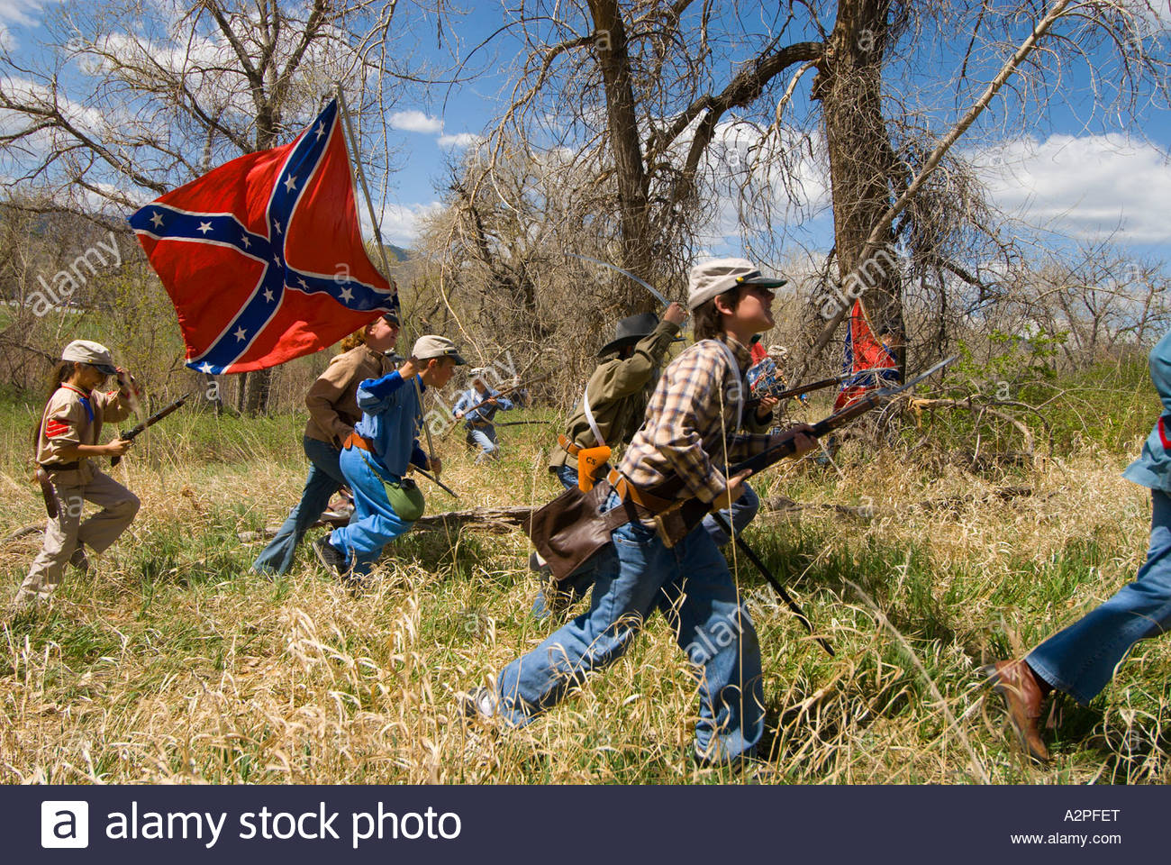 Civil War Battle Reenactment By Children From Wilder