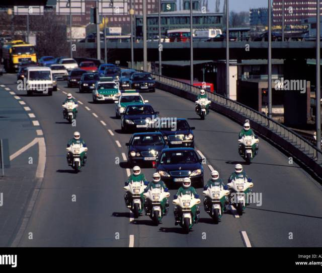 Germany Berlin Police Escort Vip Motorcade Along The Motorway