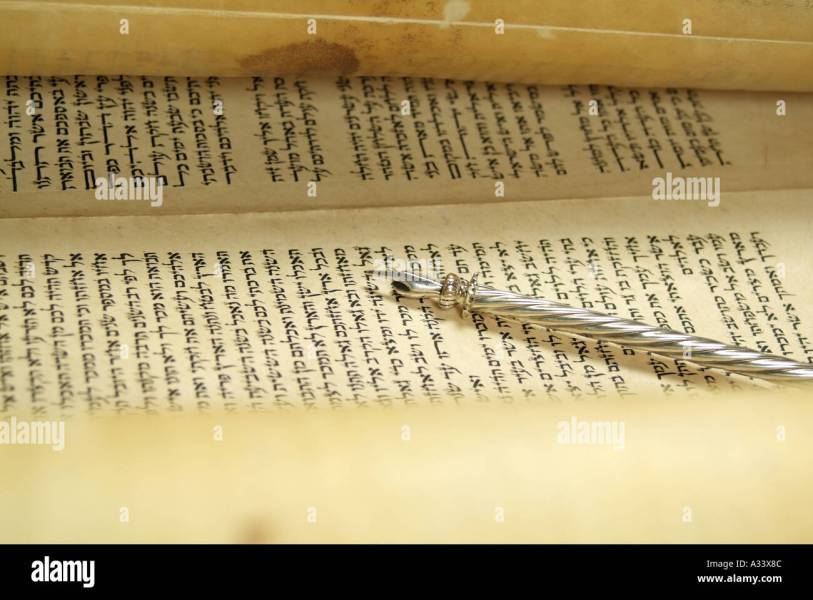 Hebrew Torah Scroll with yad pointer resting on Hebrew letters Stock     Hebrew Torah Scroll with yad pointer resting on Hebrew letters