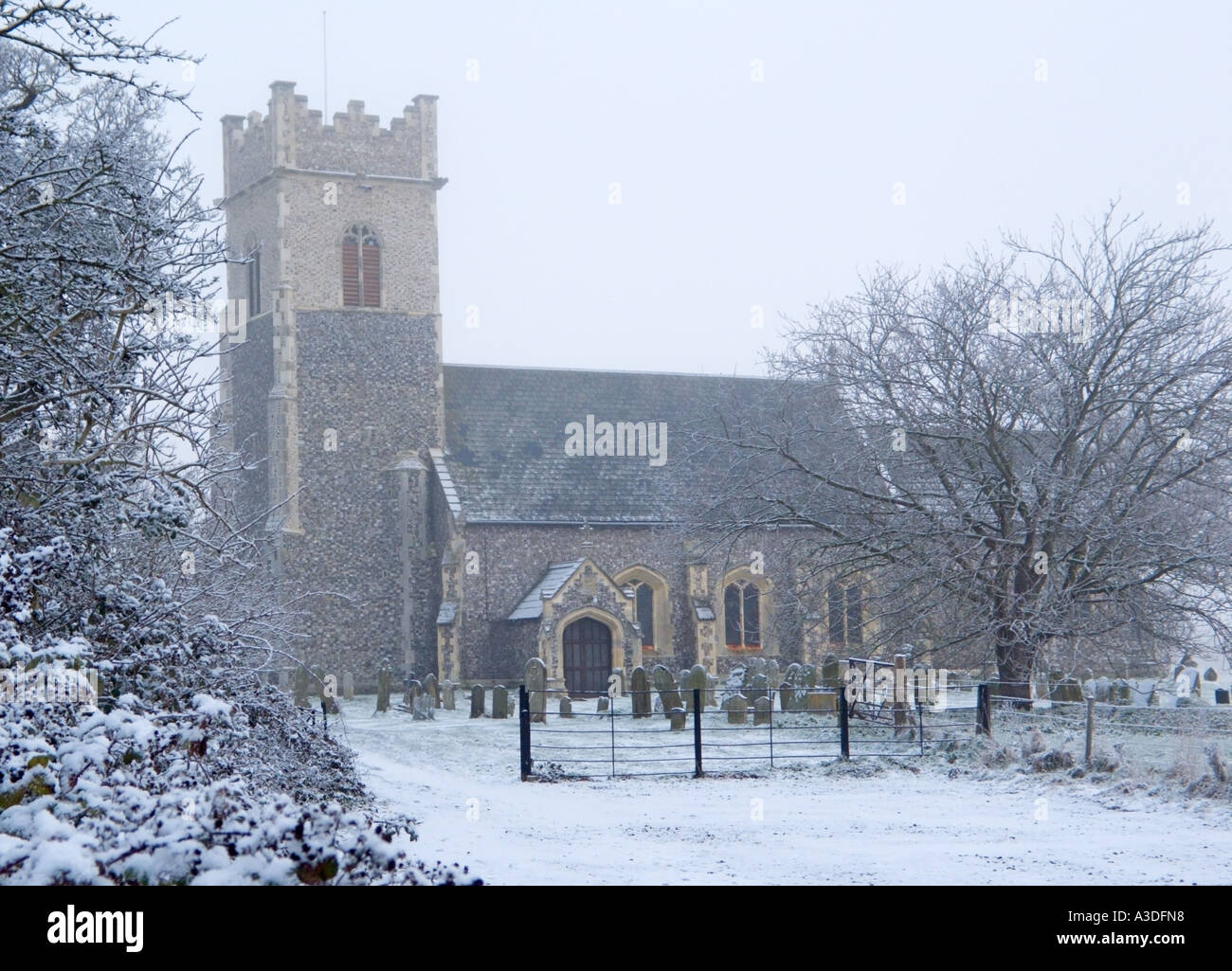 St Marys Church In Winter Somerleyton Suffolk England