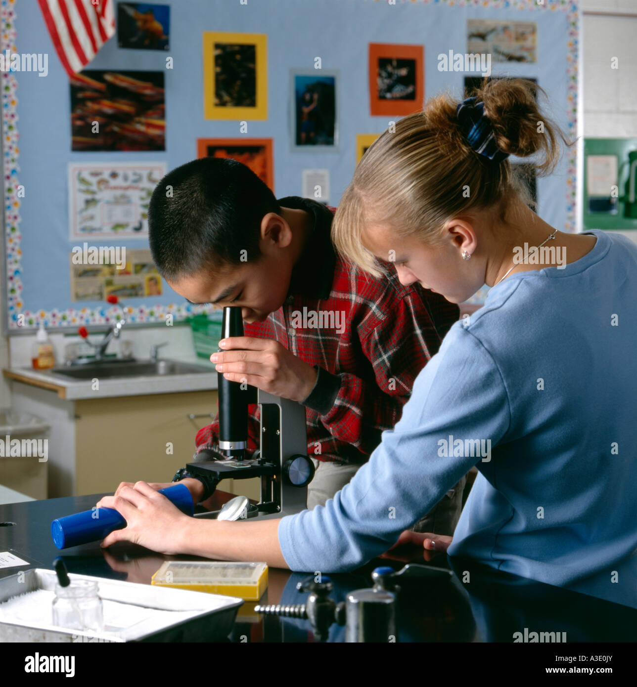 Students Peering Through Microscope In Middle School
