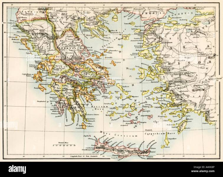 Ancient Greece Map Stock Photos   Ancient Greece Map Stock Images     Map of the Aegean Sea in the time of ancient Greece   Stock Image