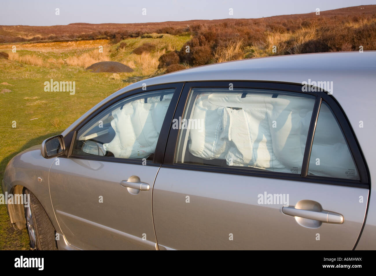https www alamy com stock photo toyota corolla with near side srs curtain airbag inflated after accident 11609221 html