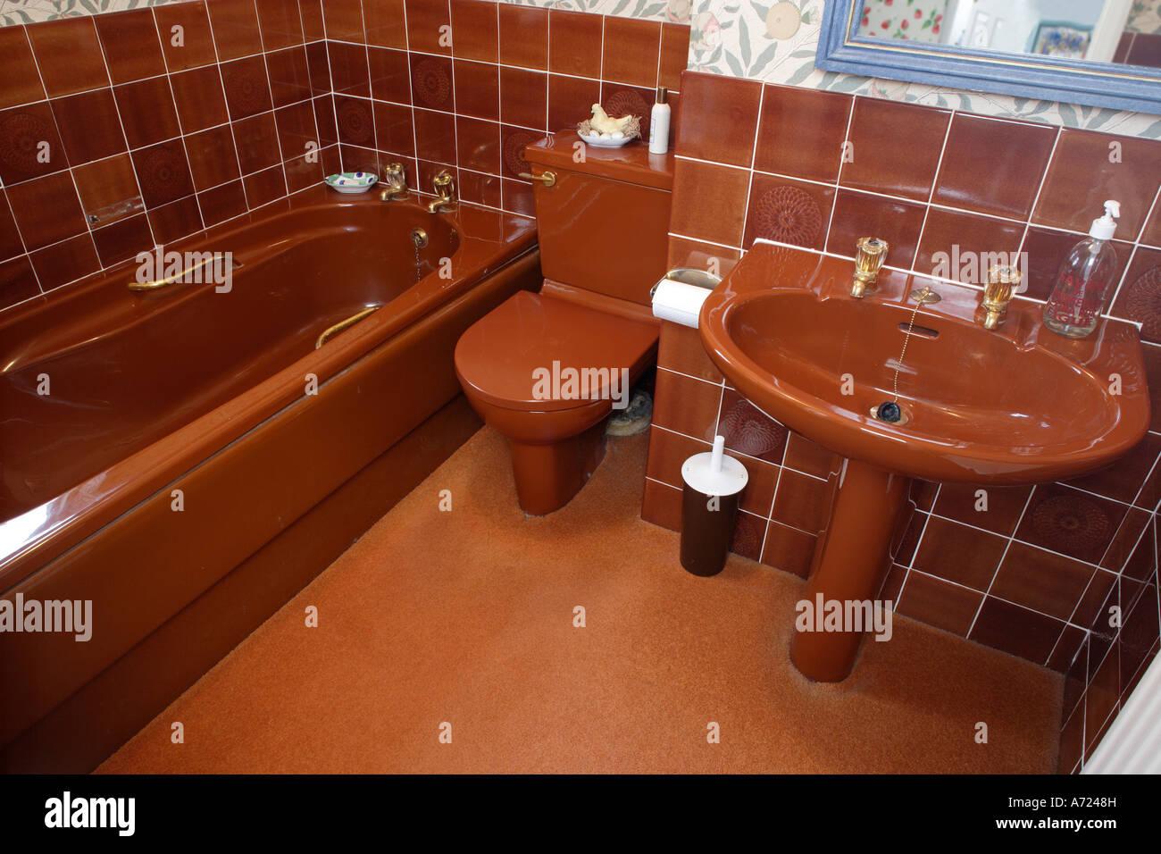 S Brown Bathroom Suite Stock Photo