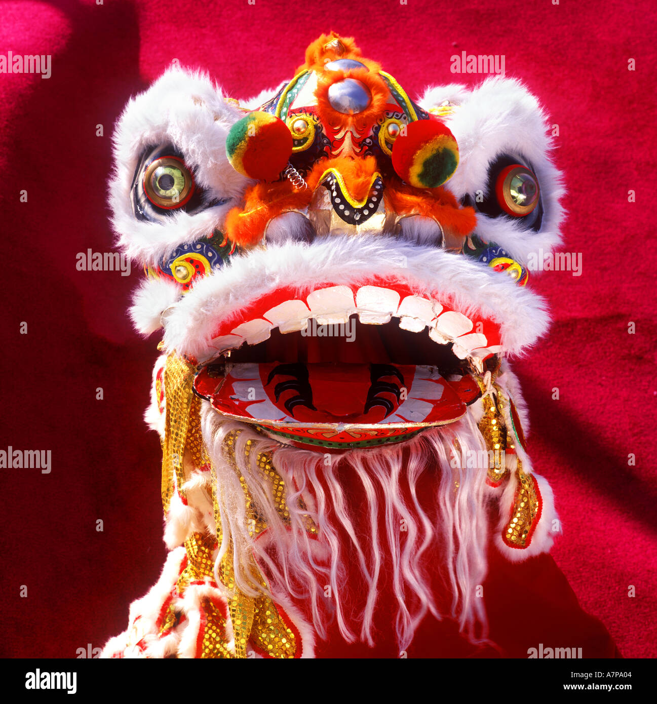 Close Up Of A Lion Mask In Chinese New Year Celebration