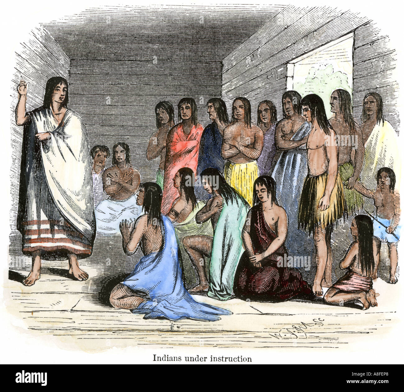 Native Americans Under Instruction In A Spanish Mission