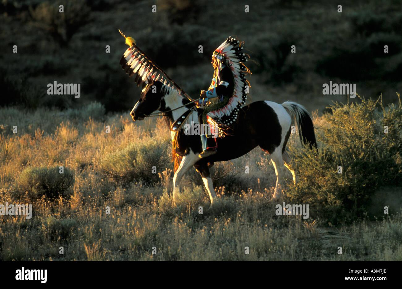 Usa Idaho Native American Indian Man In Tradtional Dress