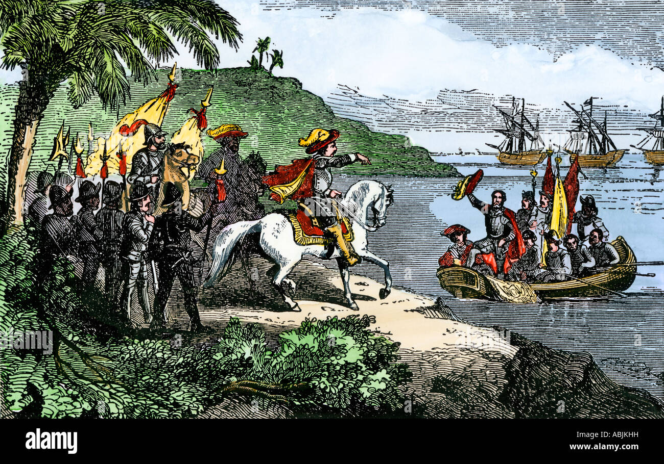 Hernando De Soto Landing His Expedition In Florida