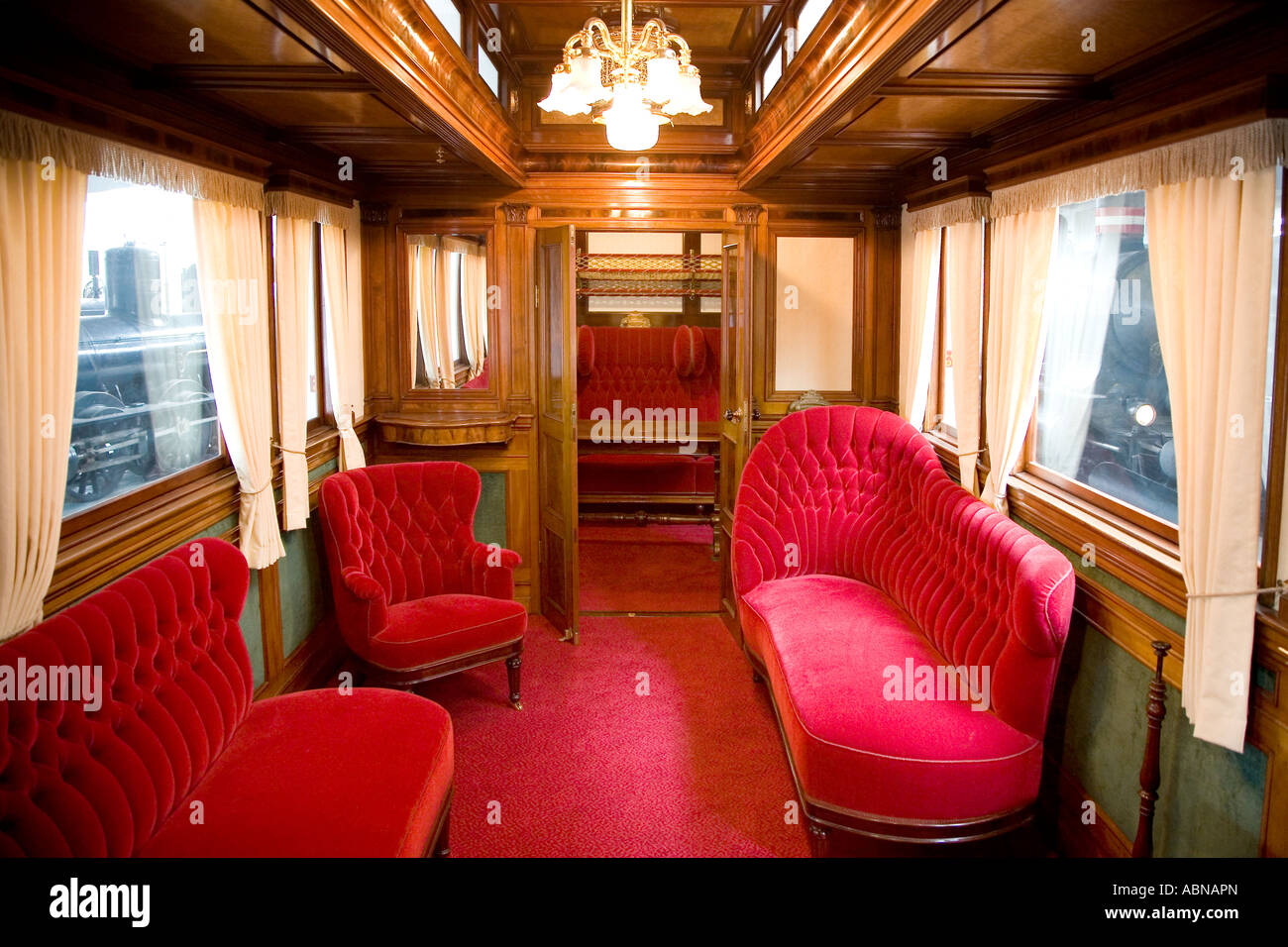 Very Old First Class Train Carriages Stock Photo