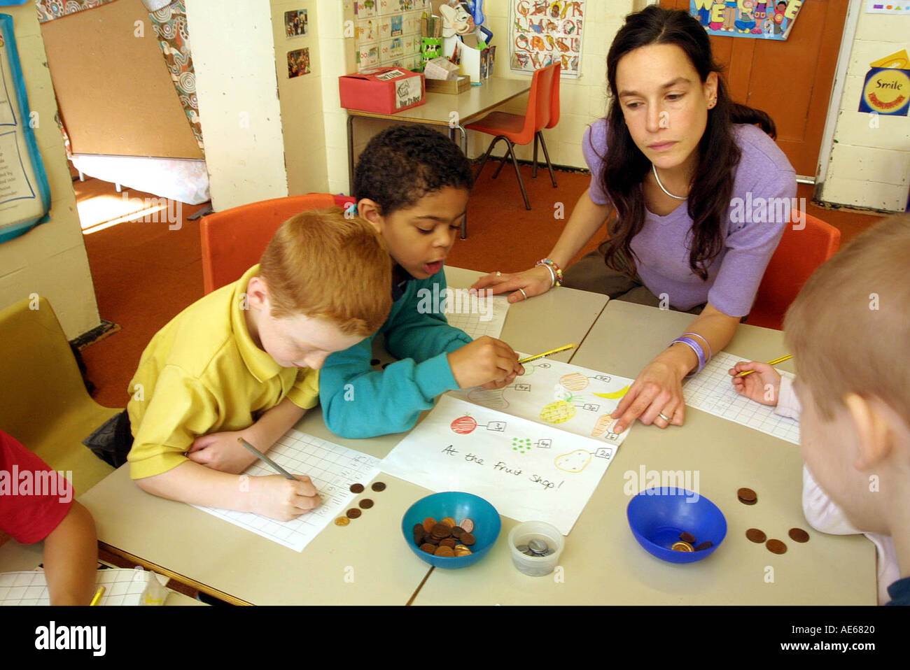 Primary School Children 6 To 7 Year Old In Maths Class