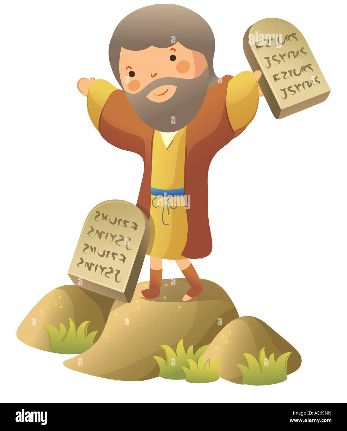 Moses Standing And Holding Ten Commandments Stock Photo