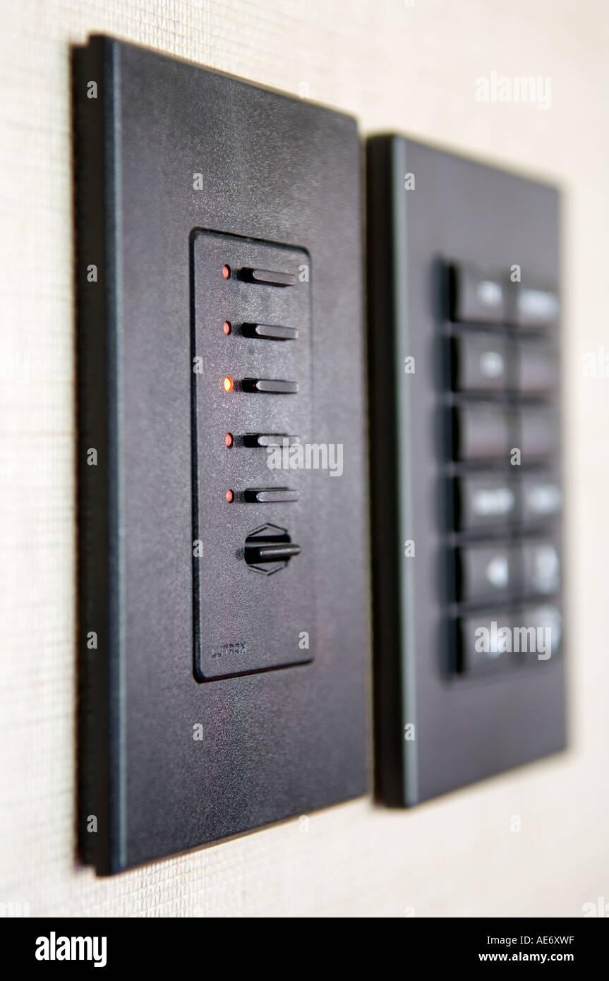https www alamy com lutron lighting control panel and crestron audio control panel image7764510 html