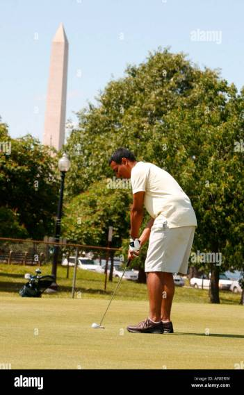 A man playing golf  East Potomac Golf Course  Washington DC  United     A man playing golf  East Potomac Golf Course  Washington DC  United States   USA