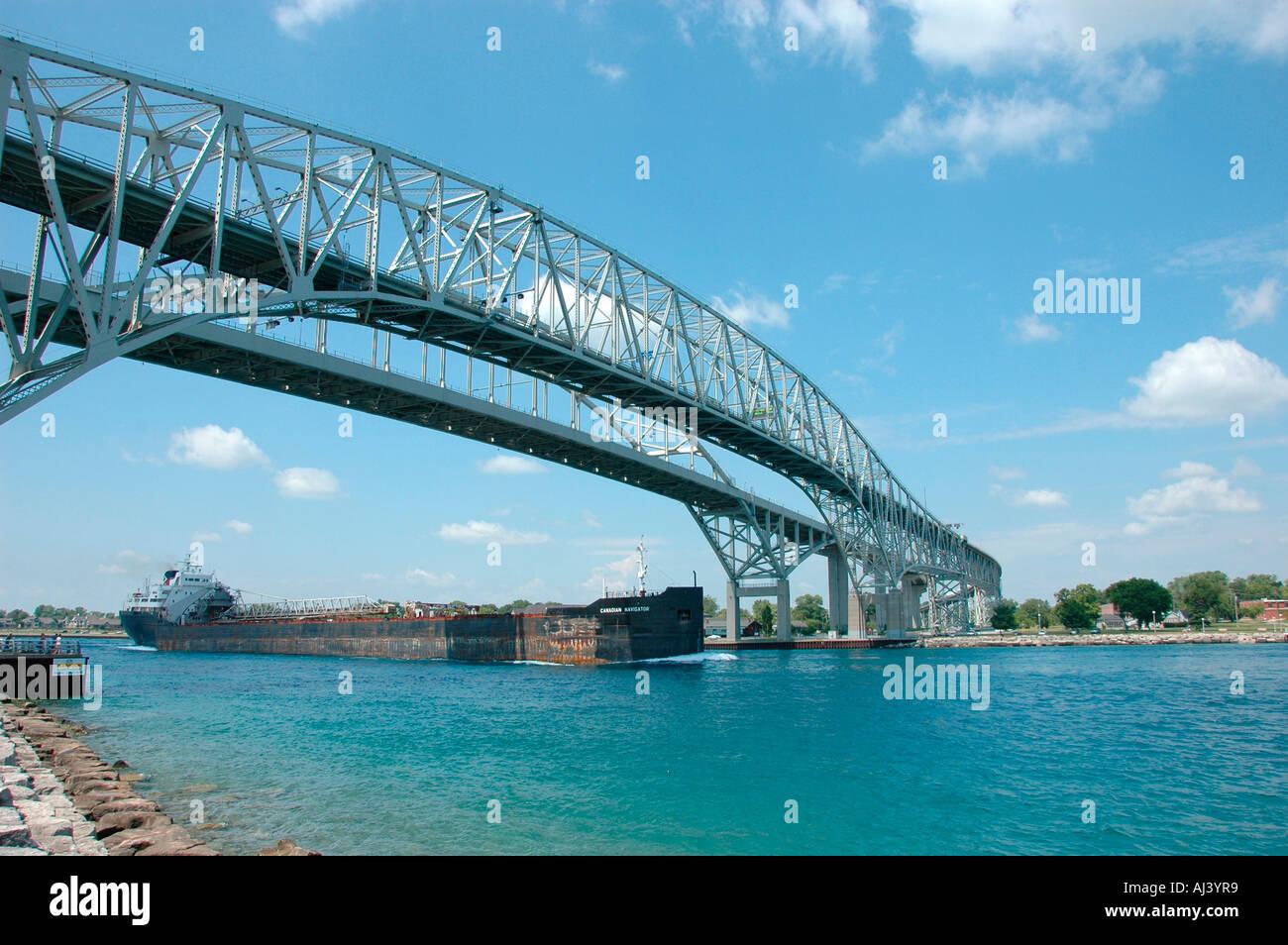 Great Lakes Bulk Ship Going North In Lake Huron At Port