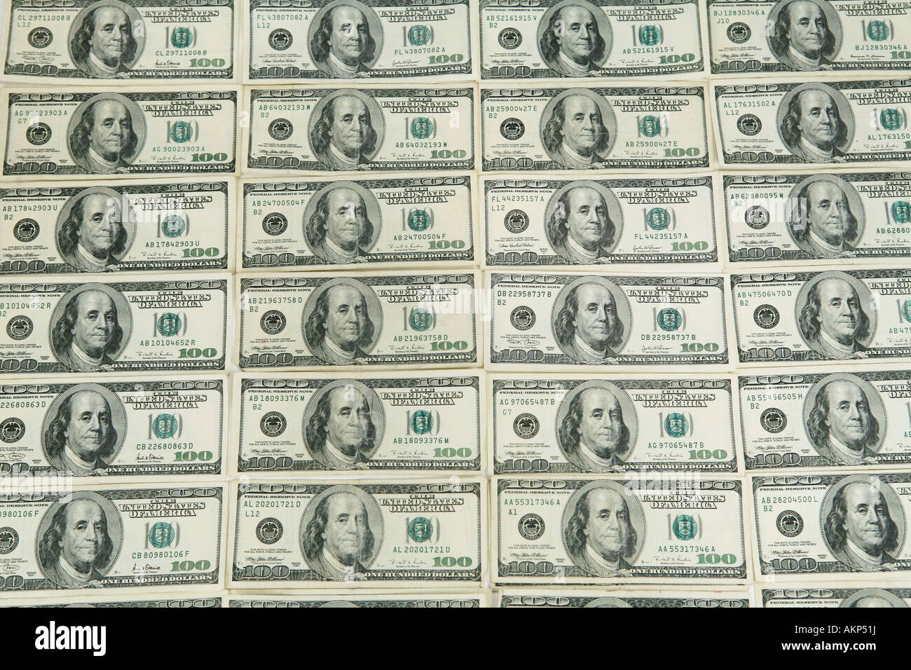 Wall Of One Hundred Dollar Bills American Money Stock