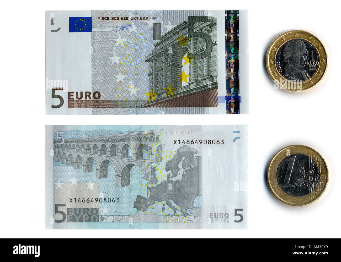 Front And Back Side Of The Five Euro Bank Note And Euro Coin Stock Photo