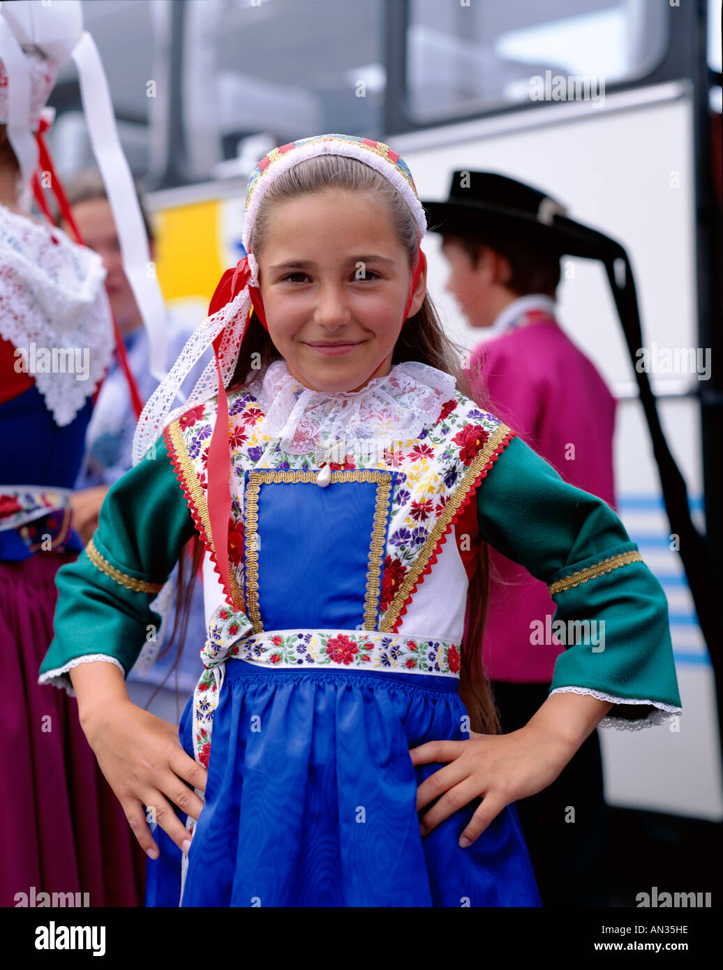 Breton Traditional Dress Girl In Local Costume Brittany