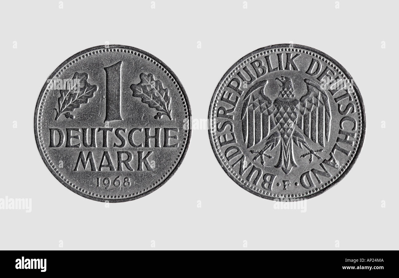 Front And Back Of German Coin One Deutsch Mark Deutschmark Stock Photo
