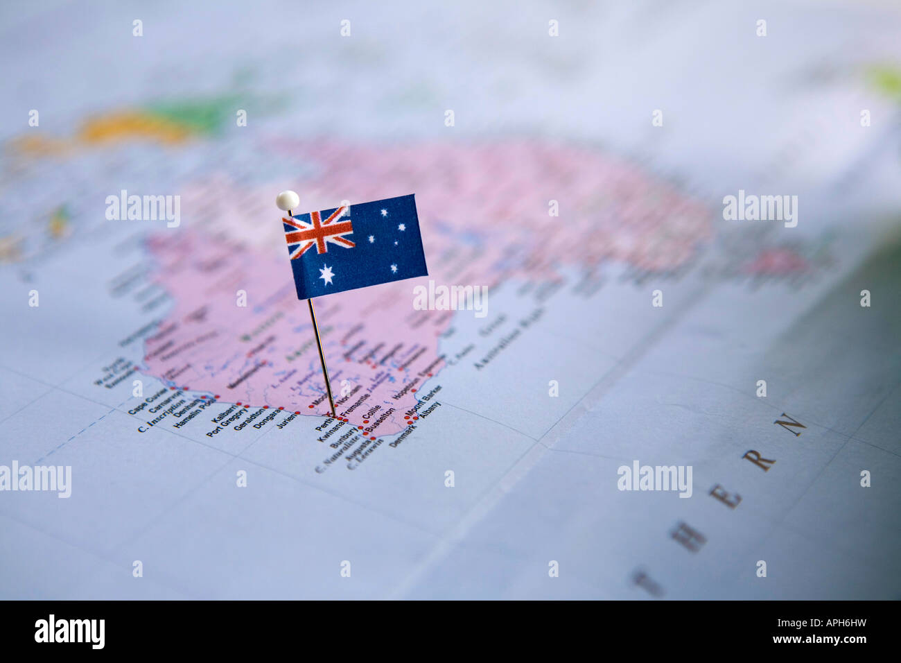 Flag Pin Placed on World Map in Perth Australia Stock Photo     Flag Pin Placed on World Map in Perth Australia