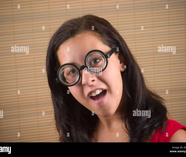 Teen Girl Wearing Thick Toy Glasses Model Released