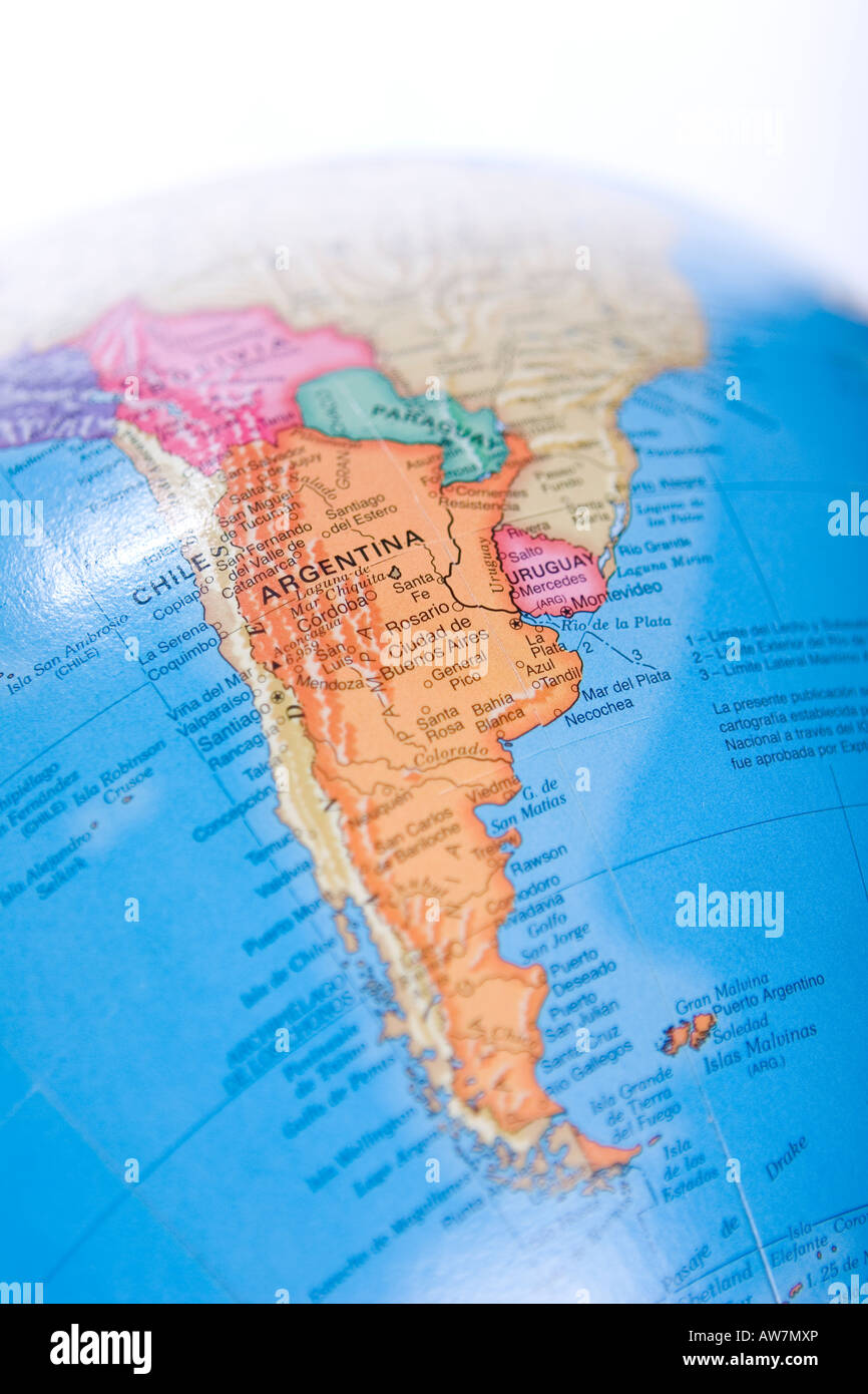 World map globe of south america with focus on Argentina and Chile     World map globe of south america with focus on Argentina and Chile